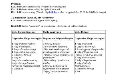 Forsamlingshus, Vandværk og Bylaug afholder Generalforsamling
